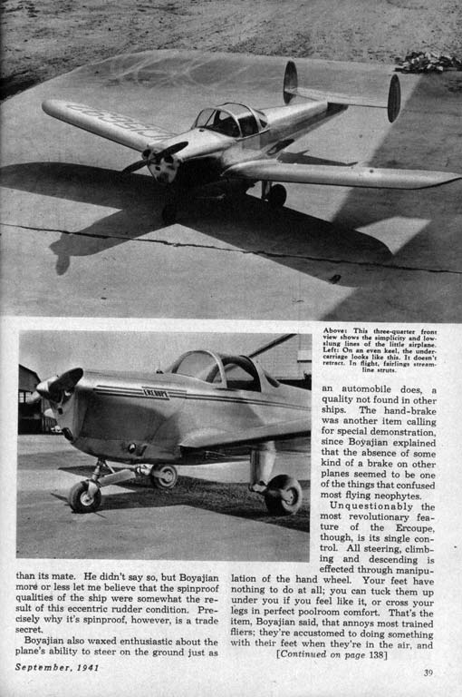 mechanix illustrated ercoupe review  september 1941
